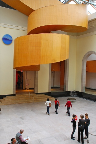 Wooden staircase at the Art Gallery of Ontario designed by Frank Gehry.