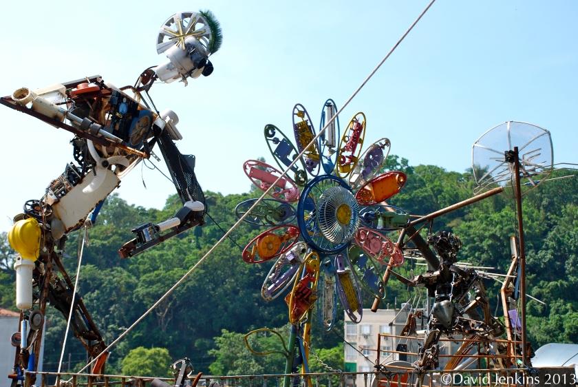 Sculptures made from metal scraps in Santa Teresa, Rio de Janeiro