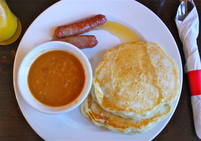 Typical sugar shack meal: buttermilk pancakes, sausages and maple baked beans.